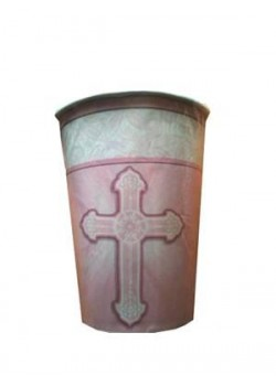 8x First Communion Cups in Pink (suitable for hot or cold drinks)