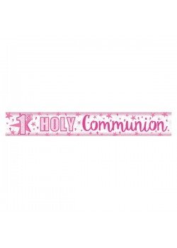 Foil Holographic First Holy Communion Banner in Pink