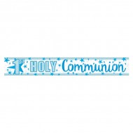 Foil Holographic First Holy Communion Banner in Blue