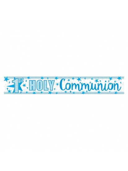 Foil Holographic First Holy Communion Banner in Blue...