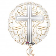 Elegant Cross Standard HX Foil Balloons (deflated) for Holy Communion
