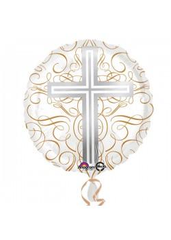 Elegant Cross Standard HX Foil Balloons (deflated) for Holy Communion