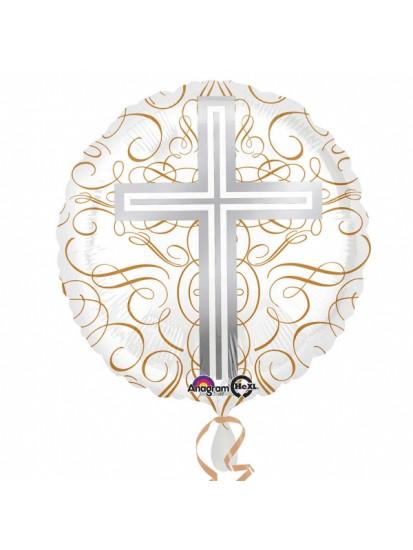 Elegant Cross Standard HX Foil Balloons (deflated) for Holy Communion...