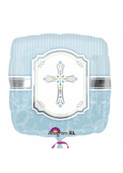 Blessings Blue Foil Standard Balloons (deflated) For First Holy Communion