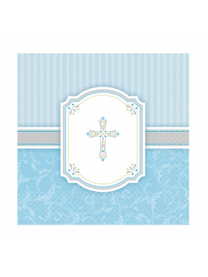 16x Blessing Blue Luncheon Napkins for First Communion...