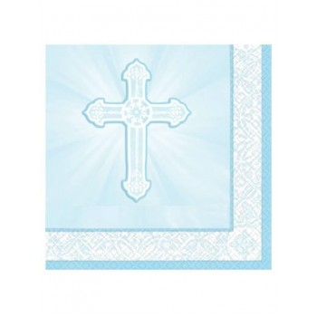 16 - Blue First Holy Communion Napkins, 13' x 13' inches