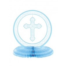First Communion  Blue Table Centre Piece, with Honeycomb Base, 2'x9.5' inches