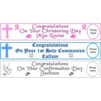 5ft Personalised Communion Paper Banner to mark the special occasion: Fantastic First Holy Communion momento with the added touch: Add a choice of your words e.g. Name of Child, Date and Church to make it very special!!! Available at Clothes Line shop Wes