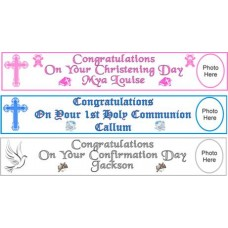 5ft Personalised Communion Paper Banner to mark the special occasion: Fantastic First Holy Communion momento with the added touch: Add a choice of your words e.g. Name of Child, Date and Church to make it very special!!!