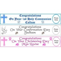 10ft Personalised Communion Paper Banner to mark the special occasion: Fantastic First Holy Communion momento with the added touch: Add a choice of your words e.g. Name of Child, Date and Church to make it very special!!!
