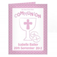 Personalised Communion Card Girl : Fantastic First Holy Communion momento with the added touch: Add a choice of your words e.g. Name of Child, Date and Church to make it very special!!! Available at Clothes Line shop West Wimbledon/Raynes Park, London SW2