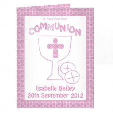 Personalised Communion Card Girl : Fantastic First Holy Communion momento with the added touch: Add a choice of your words e.g. Name of Child, Date and Church to make it very special!!!