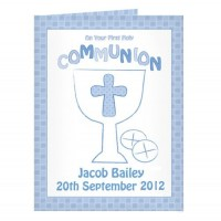 Personalised Communion Card Boy : Fantastic First Holy Communion momento with the added touch: Add a choice of your words e.g. Name of Child, Date and Church to make it very special!!! Available at Clothes Line shop West Wimbledon/Raynes Park, London SW20