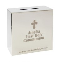 Personalised Communion Money Box : Fantastic First Holy Communion momento with the added touch: Add a choice of your words e.g. Name of Child, Date and Church to make it very special!!! Available at Clothes Line shop West Wimbledon/Raynes Park, London SW2