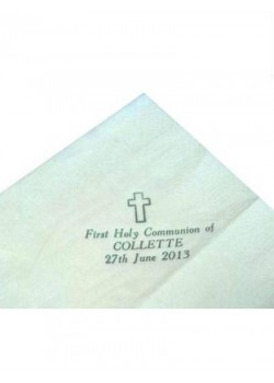 Pack of 50 White Personalised First Holy Communion Serviettes