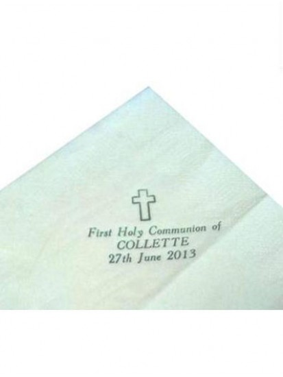 Pack of 50 White Personalised First Holy Communion Serviettes...