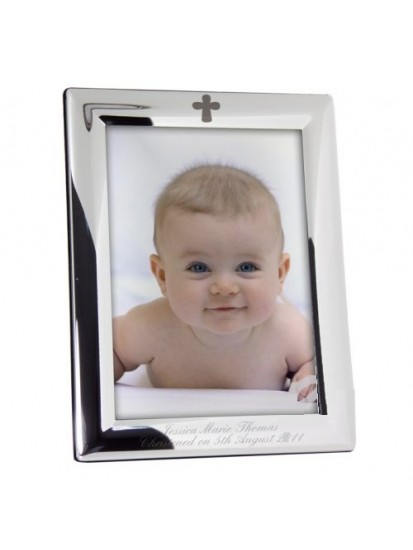 Personalised Silver Plated 5x7 Elegant Cross Communion Picture Frame...