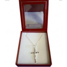 CON867 - Sterling Silver  Confirmation Cross with Chain for Boy: You are welcome to visit Clothes Line shop in West Wimbledon London SW20 9NQ where we have a variety of cards, gifts banners as well as party items